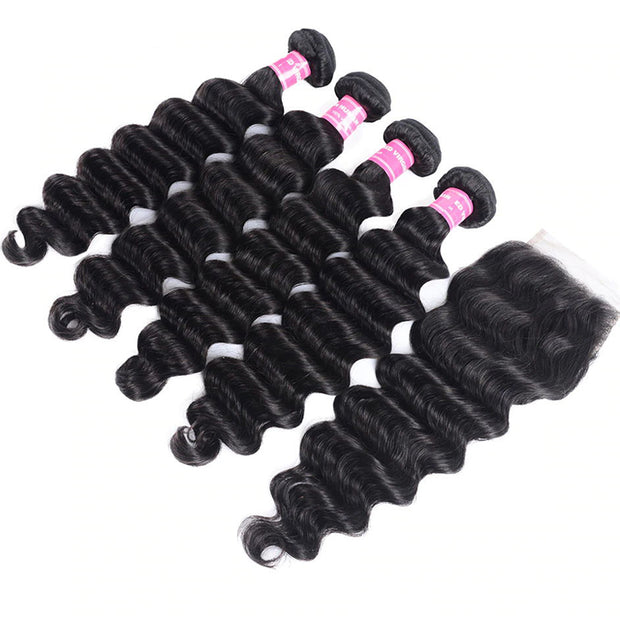 Virgin Hair Loose Deep Wave 4 Bundles with 4*4 Lace Closure, Human Virgin Hair Extensions