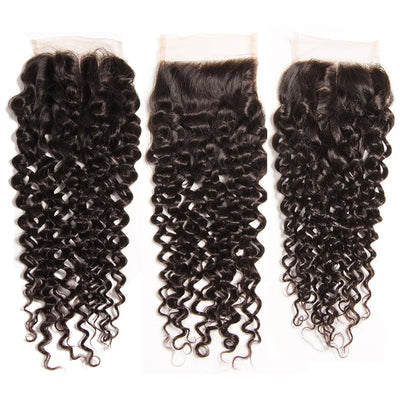 "1pcs Curly Hair 4""*4"" Lace Closures, Three /Middle /Free Part, Peruvian/Malaysian/Brazilian Hair - Sunberhair"