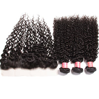 Peruvian Curly Virgin Hair 4 Bundles with Lace Frontal, Good Quality Virgin Peruvian Hair Weaves - Sunberhair