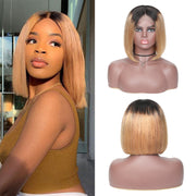 Sunber Ombre Hair 9A Grade Lace Front Omber T1B27 Straight Human Hair Wigs Preplucked Short Bob Wigs
