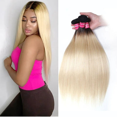 "Sunber Hair 1 Bundle T1B/613 Straight Hair Weave 10""-20"" 100% Human Hair Weave"