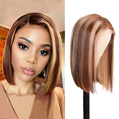Sunber Highlight Straight Bob Wig 150% Density TL412 Ombre Colored Pre-plucked 13 By 4 Lace Front Human Hair Wigs