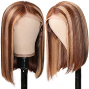 Sunber Highlight Straight Bob Wig 150% Density TL412 Ombre Colored Pre-plucked 13x4 Lace Front Human Hair Wig