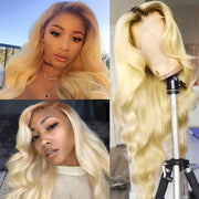 Sunber Hair Pre Plucked Lace Frontal Wigs 150% Density Ombre T4/613 Color Blonde Body Wave Virgin Human Hair Wigs With Baby Hair