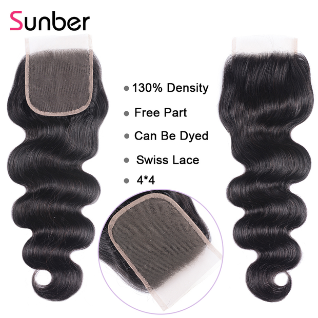 Sunber Hair 1PCS Affordable Remy Human Hair 4*4  Lace Closures 4 Styles Matched with Bundles Better