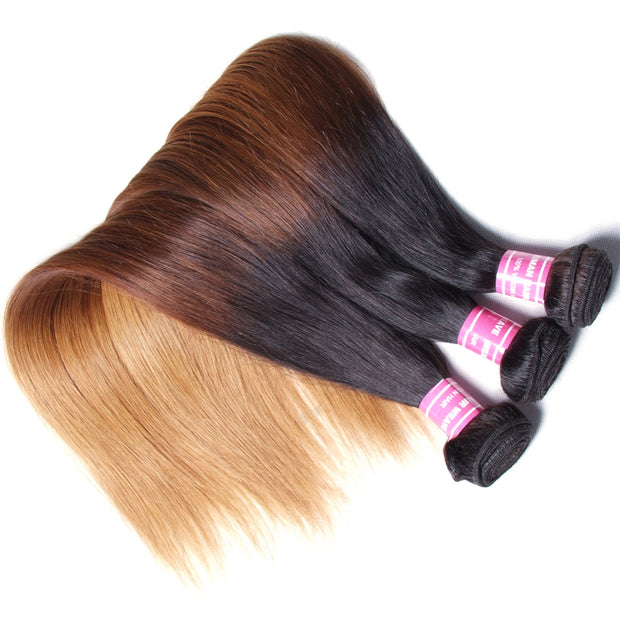 Indian Virgin Straight Hair Ombre Color Human Hair Extensions, 3 Bundles/4 Bundles - Sunberhair