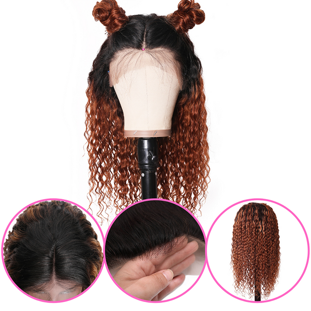 Sunber Ombre T1b30 Hair 13*4 Lace Front Curly Human Hair Wigs Lace Front Wig With Baby Hair 150% Density 100% Human Hair Pre Plucked With Baby Hair