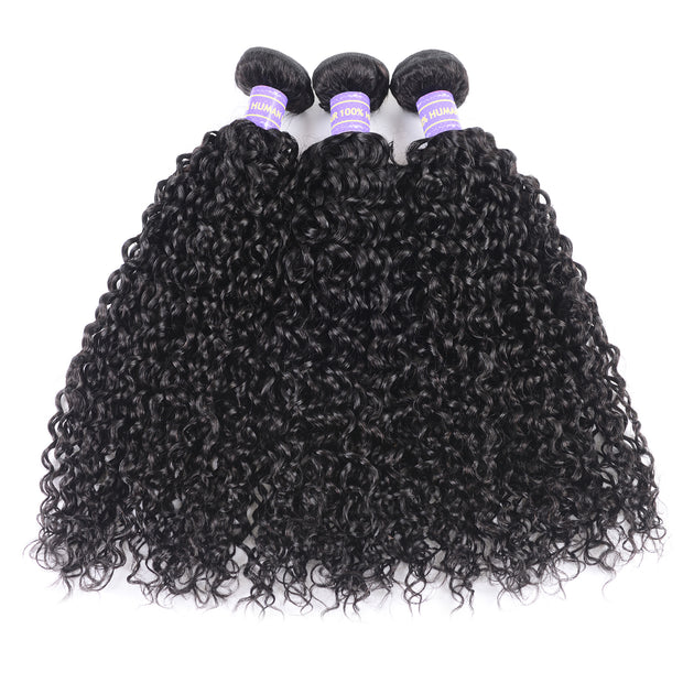 Sunber Hair New Remy Human Hair Peruvian Curly Hair 3 Bundles with 4X4 Lace Closure Good Quality Black Color Hair Bundles Deal