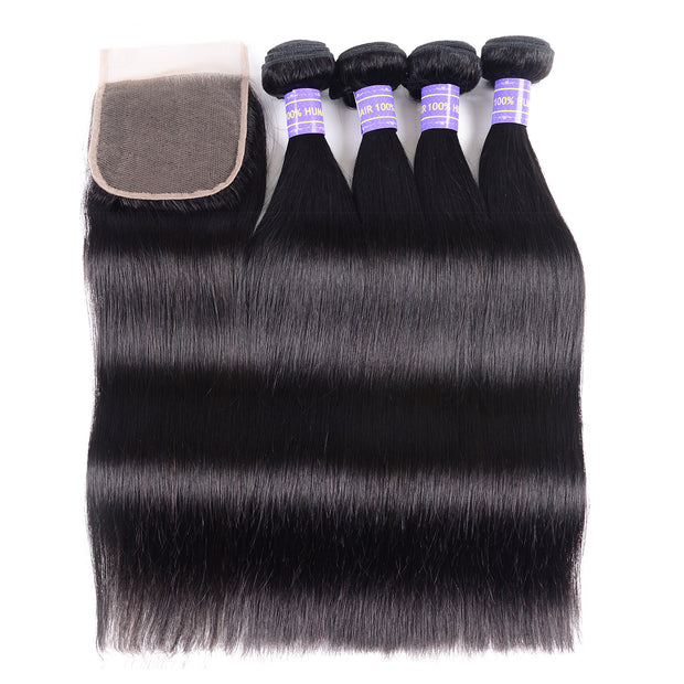 Sunber Hair Malaysian Remy Human Hair Black Color Silky Straight Hair 4 Bundles With 4x4 Lace Closure