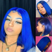 Sunber Beautiful Blue Bob Wigs Human Hair Lace Front Wigs Pre Plucked 13×4 Swiss Lace Wig 150% Density