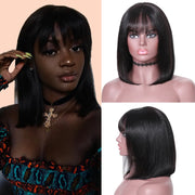 13*4 Lace Front Human Hair Wig Silky Straight Bob Hair Wig with Bangs
