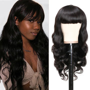 Sunber Hair Brazilian Body Wave Human Hair Wig Machine-made Pre-plucked Hair Wig With Bangs