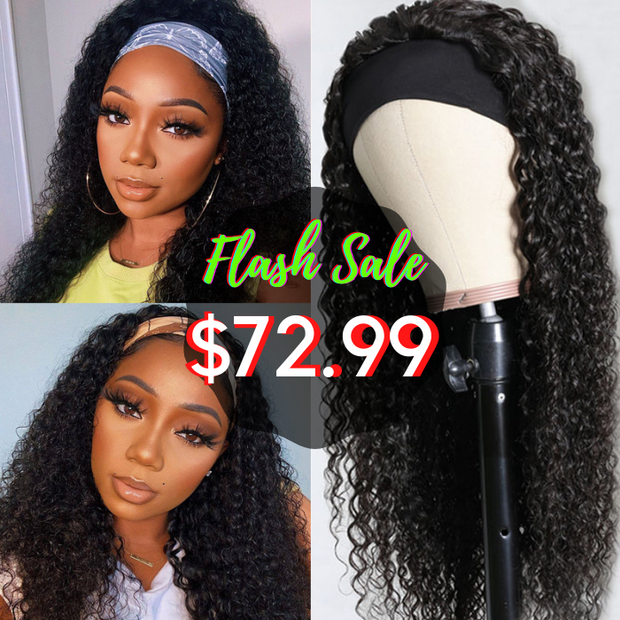 Sunber IG Flash Sale No Glue & No Sew In Headband Wig 180% Density Jerry Curly Human Hair Scarf Wigs