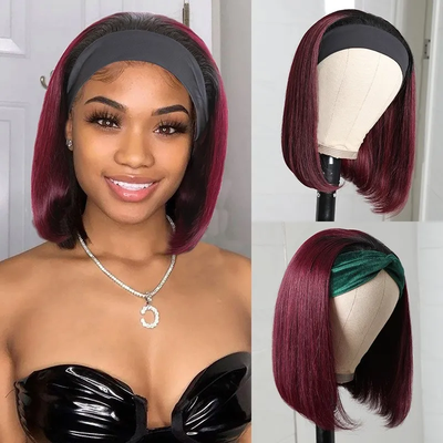 Sunber Ombre 1B99J Wine Red Color Short Straight Headband Bob Wig With Black Roots Non-Lace Front Wigs