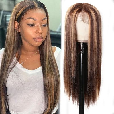 Honey Blonde Omber Highlight Straight Hair 13*4 Lace Front Wig Pre-plucked With Baby Hair Sunber Hair