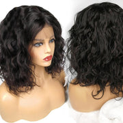 Lace Frontal Human Water Wave Bob Hair Wig 8-18inch, 100% Remy Human Hair,130% Density - Sunberhair