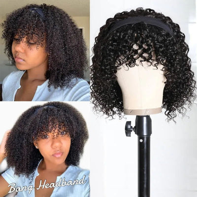 Sunber Jerry Curly Short BOB Headband Wigs with Bang 150% Density Best Human Hair Glueless Scarf Wigs