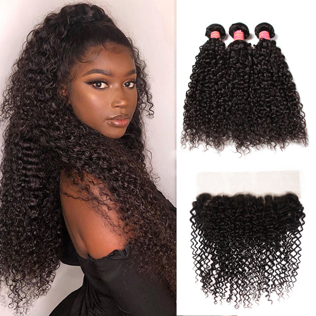 Sunber Hair Brazilian Curly Hair Lace Frontal with 3 Bundles, 100% Virgin Human Hair Extensions Wefts