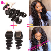 Sunber Straight Hair 2 Bundle With 4*4 Lace Closure Customize Wig  Brazilian Virgin Human Hair 200% Density