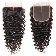 1PCS Virgin Deep Wave Hair 4*4  Lace Closures, 100% Cheap Peruvian/Malaysian/Brazilian Hair