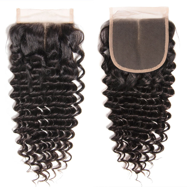 Sunber 1PCS Virgin Deep Wave Hair 4*4  Lace Closures, 100% Cheap Peruvian/Malaysian/Brazilian Hair