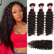 Sunber Hair Virgin Peruvian Deep Wave Hair Weaves, 4 Bundles with 4*4 Lace Closure
