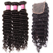 "Sunber Hair Peruvian Deep Wave Hair 3 Bundles With  4""*4"" Lace Closure, Free Part, 100%  Human Hair"