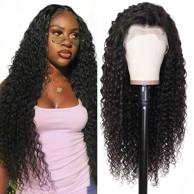 Sunber Hair Lace Front Deep Wave Human Hair Wig, 12-24 Inches, 100% Human Hair Wigs