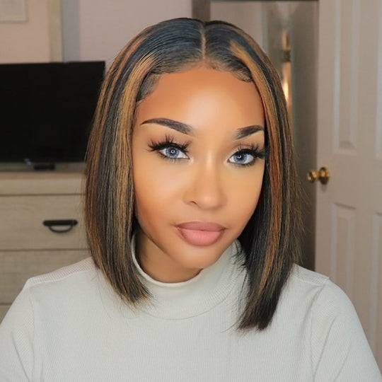 Sunber Ombre Highlight Brown T Part Lace Bob Wigs With Baby Hair