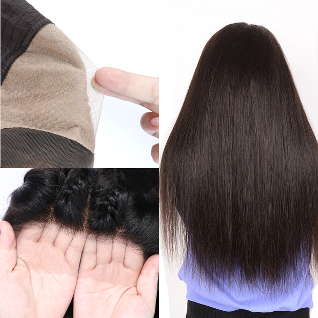 Sunber Premade Fake Scalp Lace Front Straight Hair Wig Preplucked Glueless Lace Wig 12-26 Inch