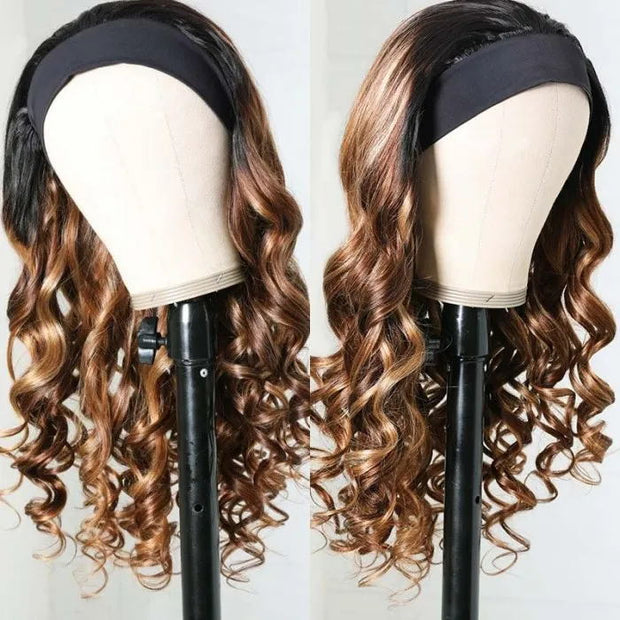 Sunber Blonde Highlight Body Wave Headband Wig Ombre 1B/TL412 Color Glueless Wear and Go Wig 150% Density