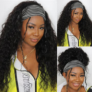 Sunber No Glue & No Sew In Fashion Headband Wig 150% Density Water Wave Human Hair Scarf Wigs Real Hairline for Women
