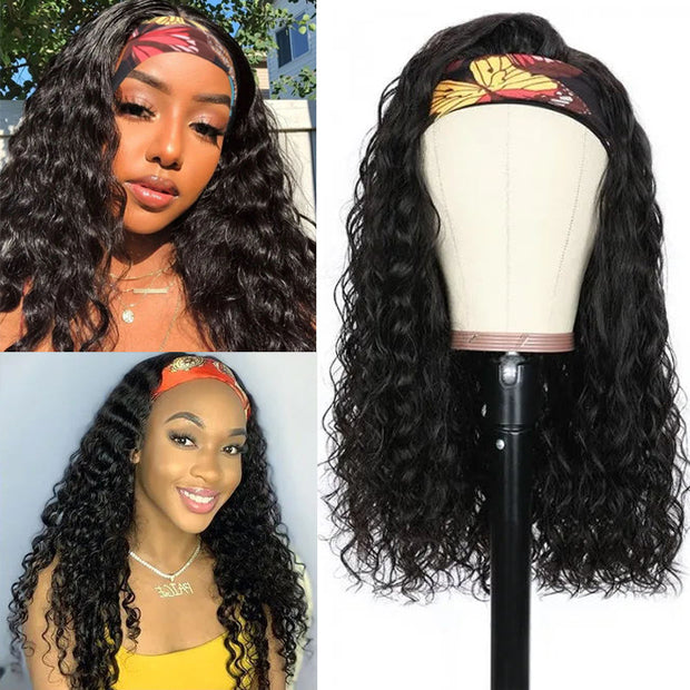 Sunber Friday Flash Sale For Chic Headband Wigs No Glue & No Sew In Human Hair Scarf Wigs