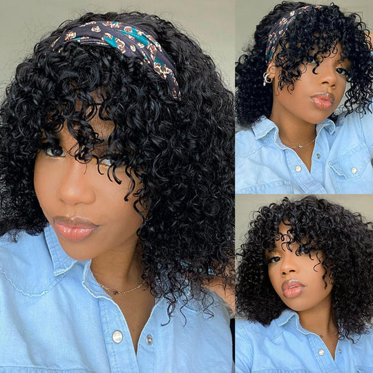 Sunber Jerry Curly Short BOB Headband Wigs with Removable Bang 150% Density Best Human Hair Glueless Scarf Wigs