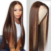 Sunber 13 By 4 Lace Frontal Wigs Highlight Brown Chocolate D427 Color Straight Human Hair Wigs Pre Plucked