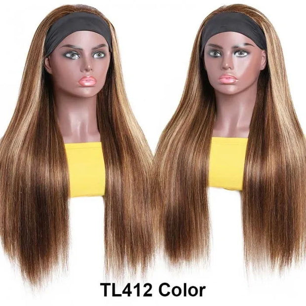 Sunber Highlight Blonde Piano Color Straight Headband Wigs 150% Density Glue-less 100% Human Hair Wigs
