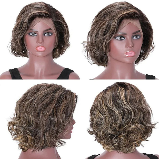 Sunber Short Hair Highlights Colour Free Part 13x4 Lace Front Bob Wigs 150% Density