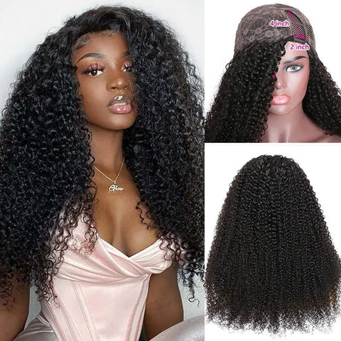 Sunber Kinky Curly Human Hair Wigs 4x2 Size Right Side U Part Wigs 200% Density Free Shipping For Women
