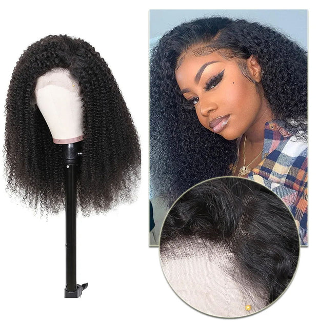 Sunber Brazilian Kinky Curly Human Hair Wigs With Baby Hair 150% Density Natural Color Afro Kinky Curly Hair Lace Wig For Black Women