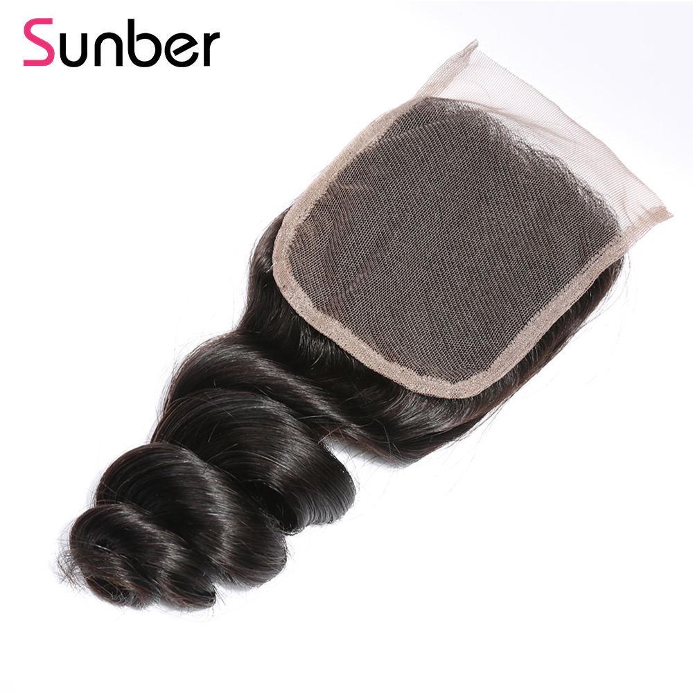 1PCS Virgin Loose Wave Hair 4*4  Lace Closures, 100% Cheap Peruvian/Malaysian/Brazilian Hair - Sunberhair