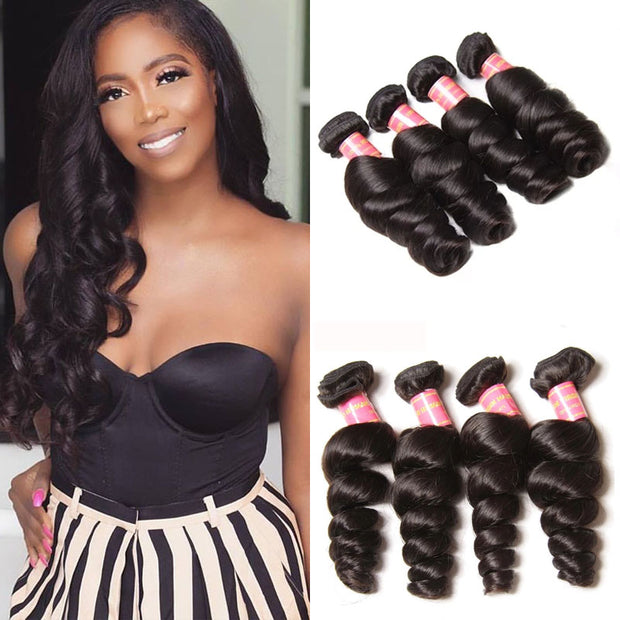 Sunber Virgin Brazilian Loose Wave Hair 4 Bundles - 100% Unprocessed Human Bundle Deals