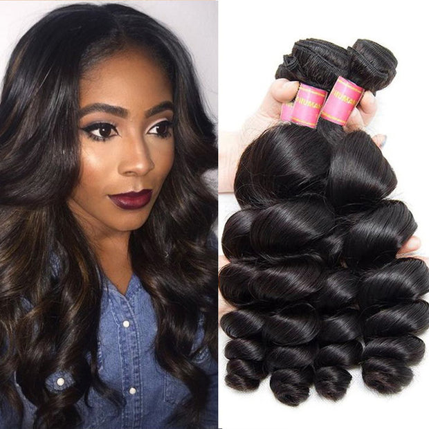 Peruvian Loose Wave Bundles 3pcs/lot- 100% 7A Virgin Hair Extensions
