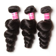 Peruvian Hair Loose Wave Hair Weaves 4 Bundles with Lace Closure, 100% Human Hair - Sunberhair
