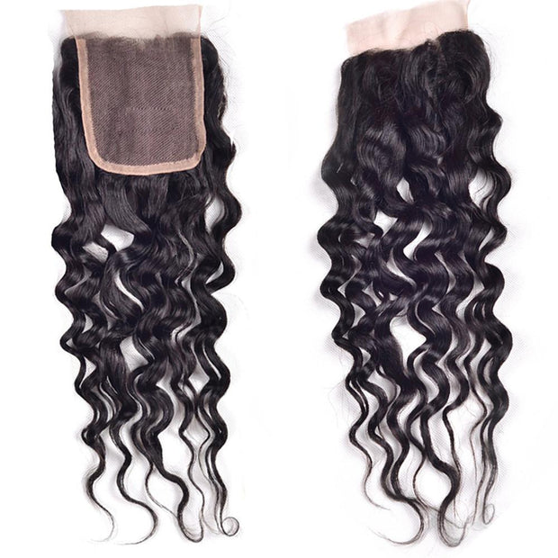 Malaysian Natural Wave Hair 3 Bundles with Lace Closure,  100% 7A Good Virgin Hair - Sunberhair