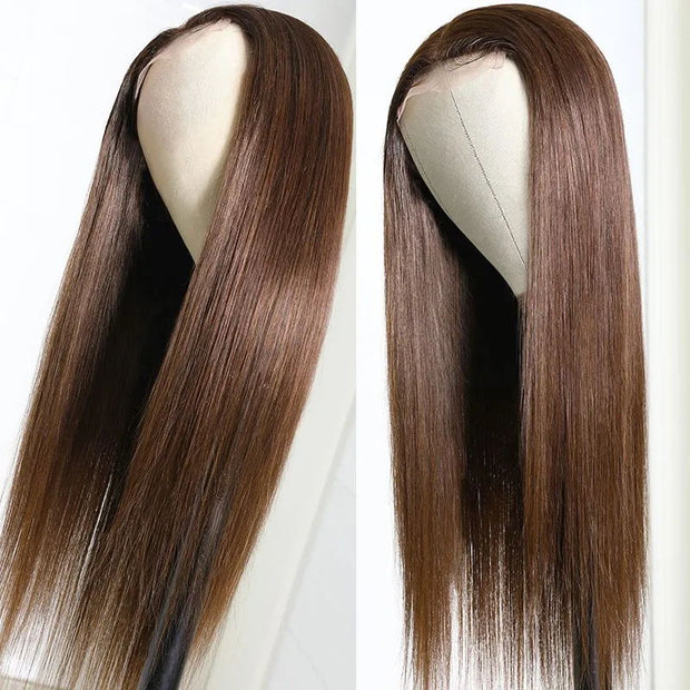 Sunber Highlight #4 Brown Color Straight Human Hair Wigs 4 By 4 Lace Closure Wig Hand Tied Lace Part Wig 150% Density