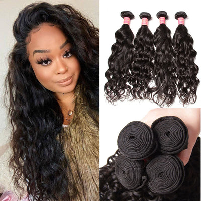 Sunber Hair Brazilian Natural Wave Hair 4 Bundles, 100% Virgin Human Hair