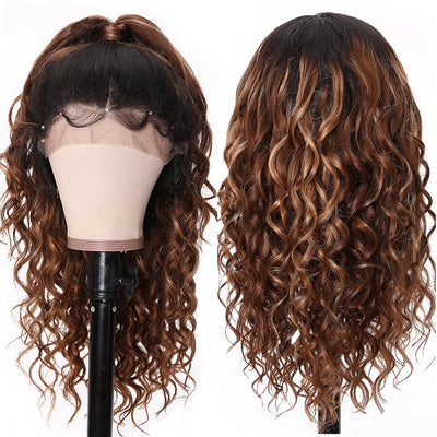 Sunber Ombre Deep Curly Human Hair Wig With Baby Hair Pre Plucked T1B/4/27 Ombre Curly Hair Lace Front Wig 150% Density