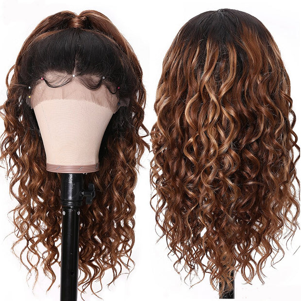 Sunber Hair omber T427 Lace Front Human Hair Wig Preplucked New Curly Lace Wig 150% Density