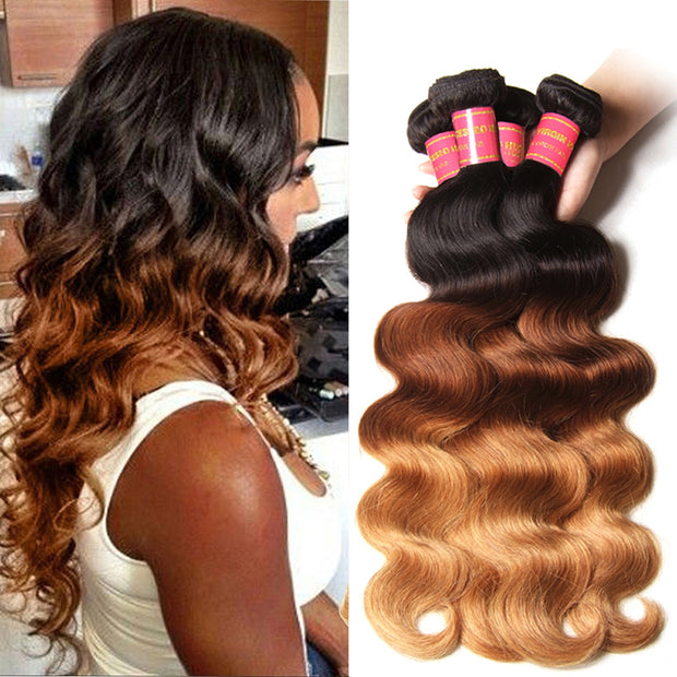 Sunber Hair Malaysian Ombre Body Wave Hairs 3 Bundles, T1B/4/27 Ombre Human Hair Weaves