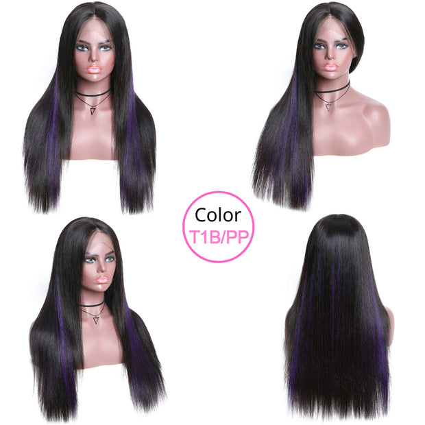 Sunber 9A Straight 13*4 Lace Front Wigs With Highlights Preplucked Omber Long Straight Hair Wigs